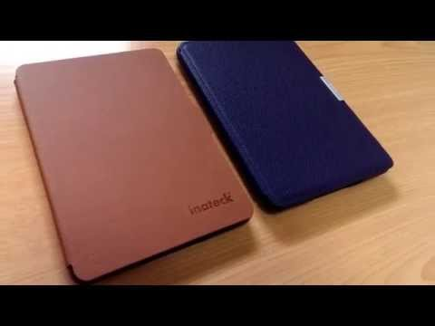 Inateck Kindle Paperwhite用 Microfibril PU レザーケース&Amazon純正カバー外観比較(表面)