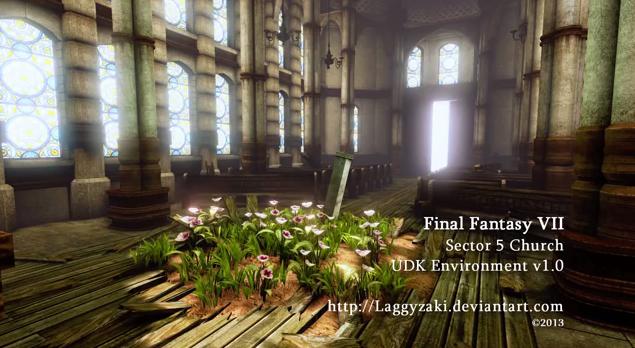 無料ゲームエンジン「UDK」でリアルに再現されたFFVII スラムの教会