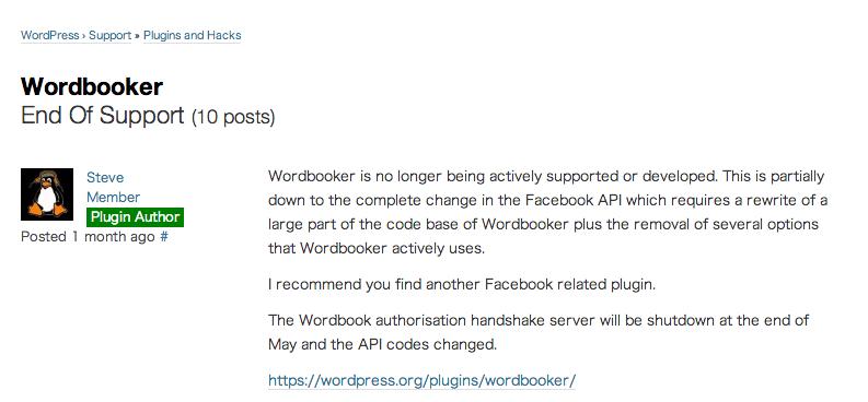 [WordPress] Facebookページへの自動投稿プラグイン『Wordbooker』終了のお知らせ