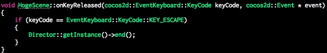 Cocos2d-x 3.1以降でのAndroidバックキーのKeyCodeはKEY_ESCAPEに