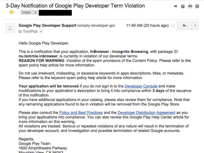 """アプリ開発者は要注意!Googleを騙るフィッシング詐欺メール""""3-Day Notification of Google Play Developer Term Violation"""""""