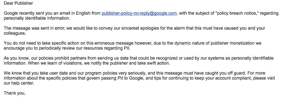 Googleの「policy breach notice」というメールはやっぱり誤送信だったようです