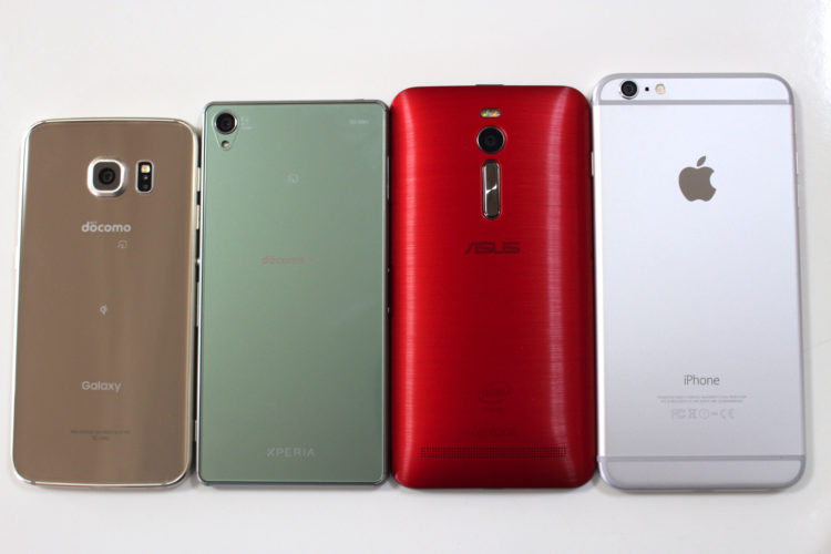 左からGalaxy S6 edge、Xperia Z3、ZenFone 2、iPhone 6 Plus