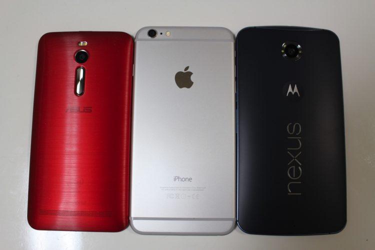 左:ZenFone 2 中央:iPhone 6 Plus 右:Nexus 6