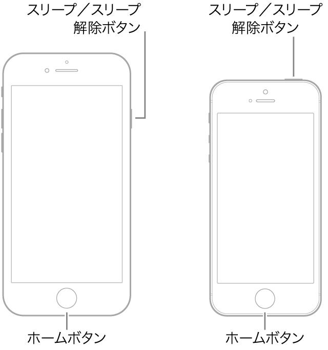 iPhone 6および6 Plus、iPhone 6sおよび6s Plus、iPhone SE、またはiPhone 5sを強制的に再起動する