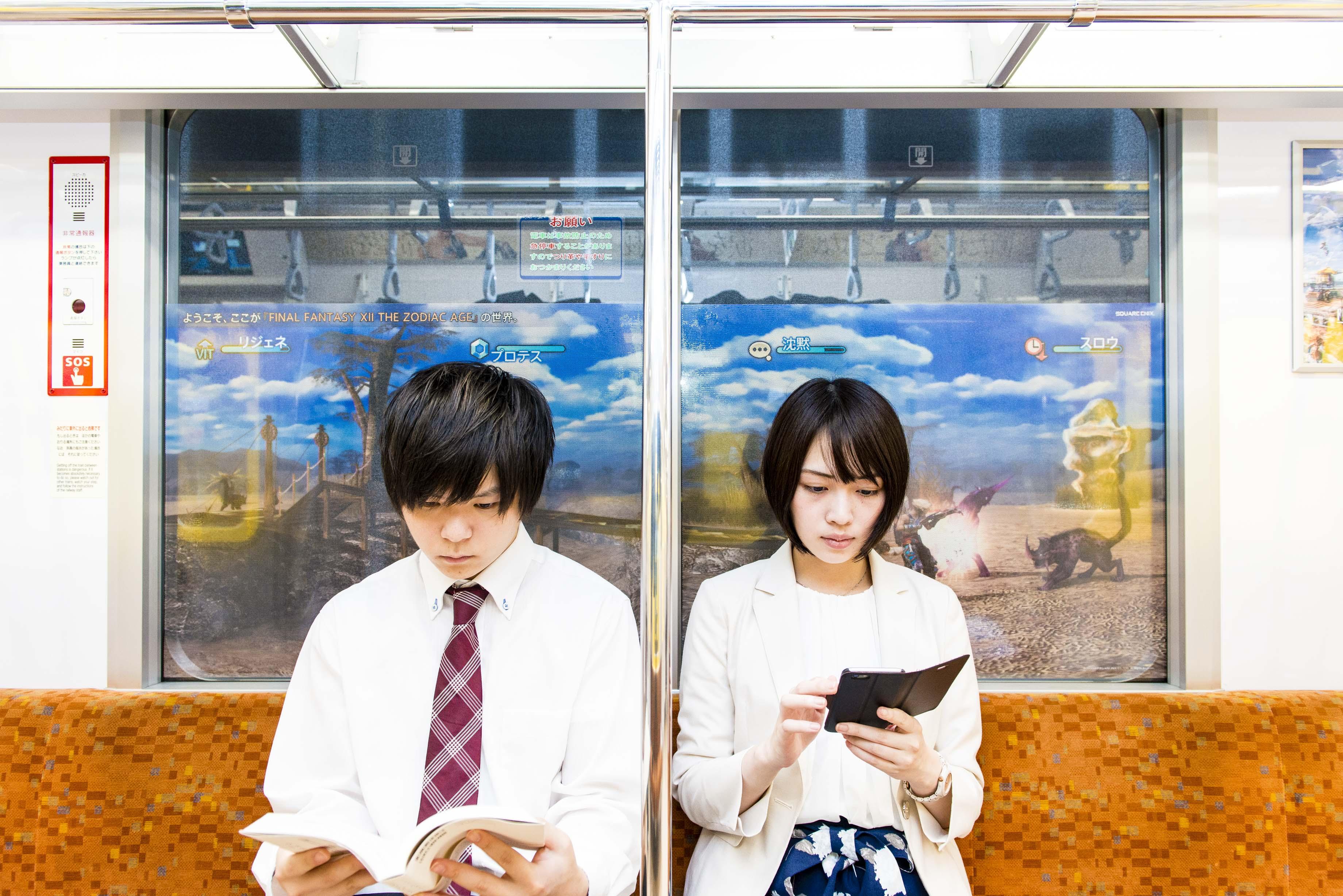 電車内から見た外の景色がFFXIIの世界に!?FFXIIのキャラクターたちが東京メトロ銀座線・丸ノ内線をジャック!